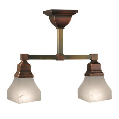 Bungalow Alabaster Swirl 2-Light Semi-Flush Mount