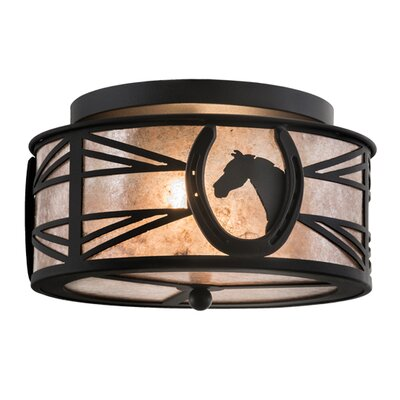 Horseshoe 2-Light Flush Mount Finish: Black