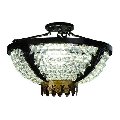 Chrisanne Crystal 3-Light Semi Flush Mount Size: 12.25 H x 18.25 W x 18.25 D