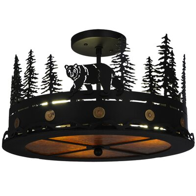 Northwoods Bear at Dusk 3-Light Semi-Flush Mount