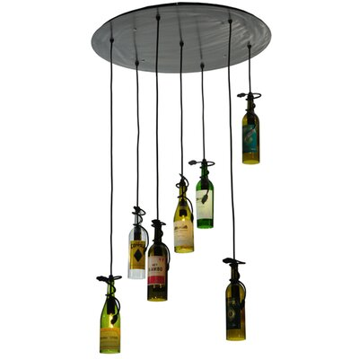 Tuscan Vineyard Personalized 7 Wine Bottle 7-Light Cascade Pendant
