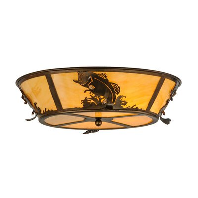 Leaping Bass 4-Light Flush Mount