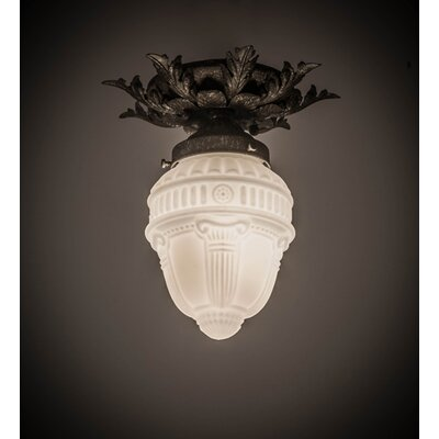 Fancy Floral with Colonnade Globe 1-Light Flush Mount