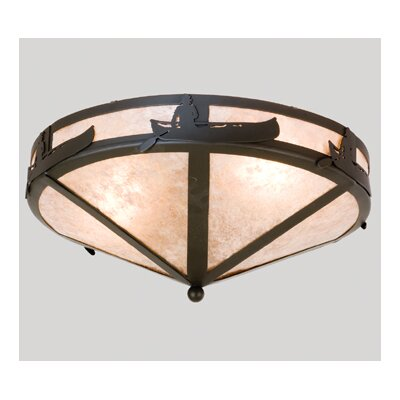 Canoe At Lake 2-Light Flush Mount