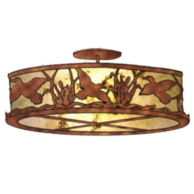 Ducks in Flight 2-Light Semi Flush Mount