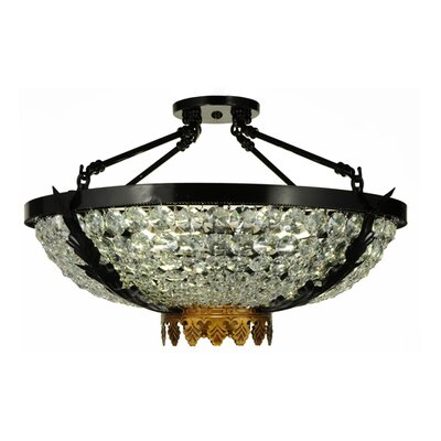 Chrisanne Crystal 3-Light Semi Flush Mount Size: 14 H x 24 W x 24 D