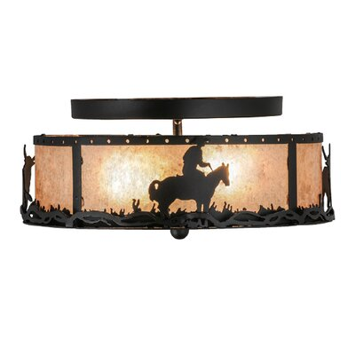 Cowboy and Steer 2-Light Semi Flush Mount