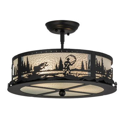 Fly Fishing Creek 2-Light Semi Flush Mount