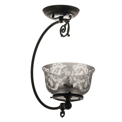 Revival Wreath and Garland Gas Reproduction 1-Light Semi Flush Mount