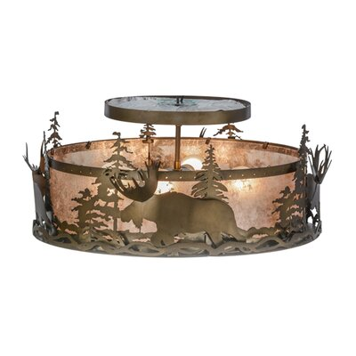 Moose at Dusk 4-Light Semi Flush Mount