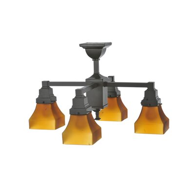 Bungalow Frosted Amber 4-Light Semi Flush Mount