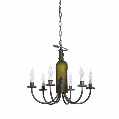 Tuscan Vineyard Wine Bottle 6-Light Candle-Style Chandelier