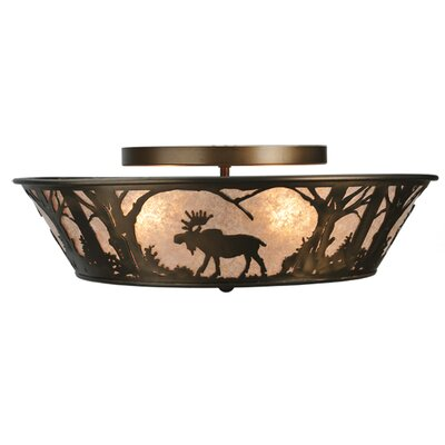 Northwoods Moose at Dawn 4-Light Flush Mount
