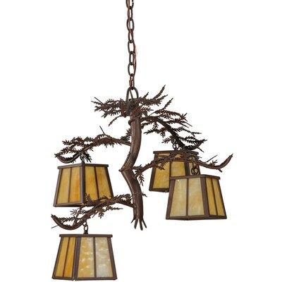 Pine Branch 4-Light Shaded Chandelier