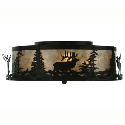 Elk at Dusk 4-Light Flush Mount