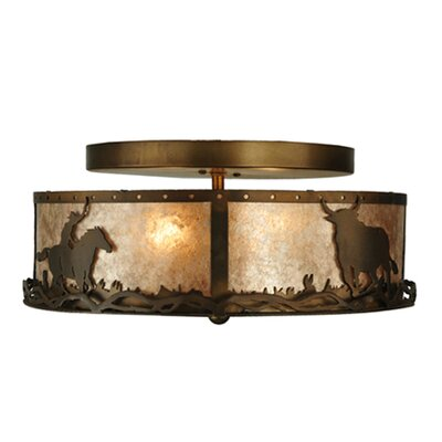 Cowboy and Steer 2-Light Flush Mount