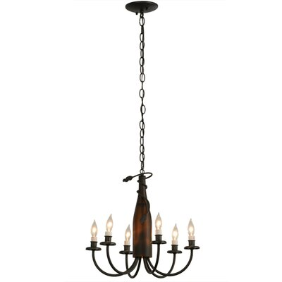 Tuscan Vineyard Frosted Wine Bottle 6-Light Candle-Style Chandelier