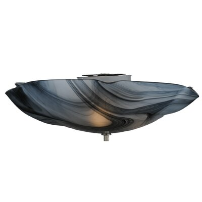 Metro Noir Swirl Organic Art Glass 3-Light Flush Mount