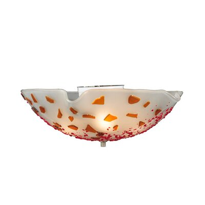 Metro Fusion Organic Slumped Glass 3-Light Flush Mount