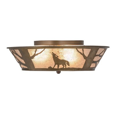 Northwoods Wolf on the Loose 4-Light Flush Mount