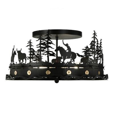Cowboy and Steer 4-Light Semi-Flush Mount