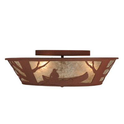Canoe At Lake 4-Light Flush Mount