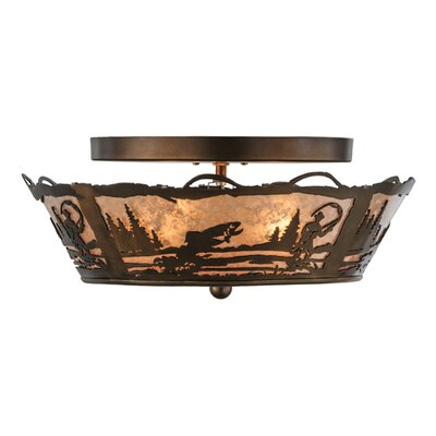 Fly Fishing Creek 2-Light Semi-Flush Mount