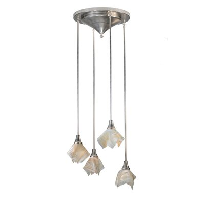 Metro Blush Swirl Handkerchief 4-Light Cascade Pendant