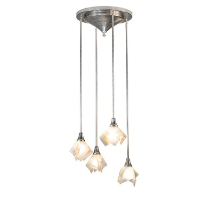 Metro Blush Swirl Handkerchief 4-Light Cluster Pendant