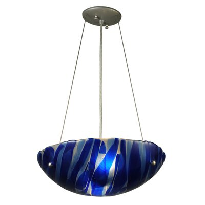 Metro Fusion Azul Glass 3-Light Inverted Pendant