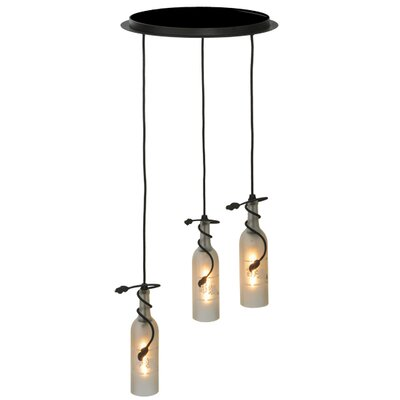Tuscan Vineyard Etched Grapes Wine Bottle 3-Light Cascade Pendant Shade Color: White