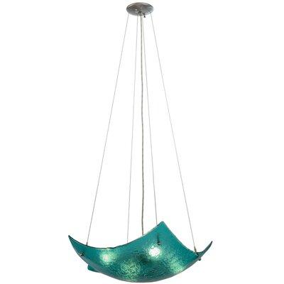 Metro Fusion Aquamarine Crinkle 4-Light Inverted Pendant