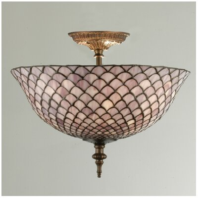 Tiffany Fishscale 3-Light Flush Mount