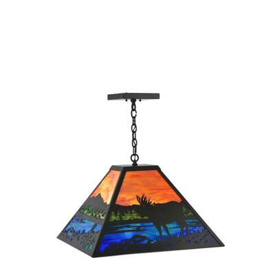 Moose at Lake 3-Light Pendant