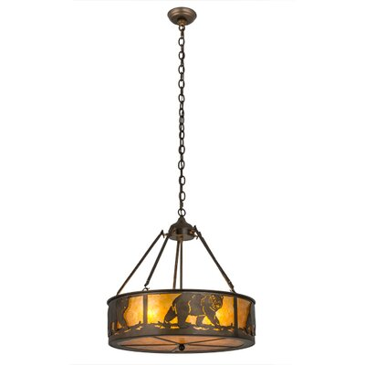 Northwoods Lone Bear 4-Light Drum Pendant
