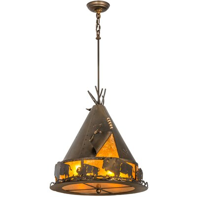 Teepee with Buffalo 4-Light Geometric Pendant Size: 39 - 69 H x 20 W x 20 D