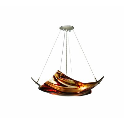 Metro Cabernet Swirl Crinkle Glass 4-Light Inverted Pendant