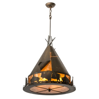 Teepee with Buffalo 4-Light Geometric Pendant Size: 41 - 71 H x 24 W x 24 D
