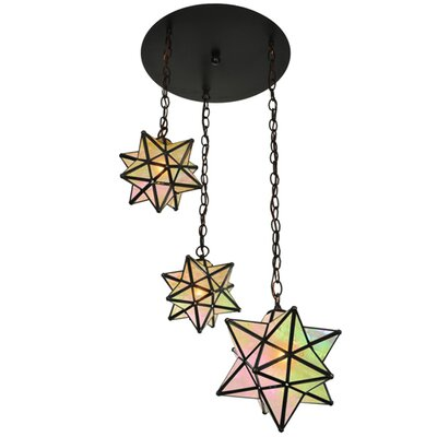 Moravian Star 3-Light Cascade Pendant Shade Color: Amber