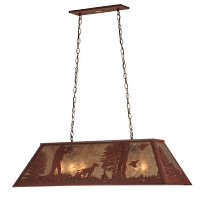 Quail Hunter with Dog 6-Light Pool Table Pendant Size: 16 - 45 H x 42 W x 17 D