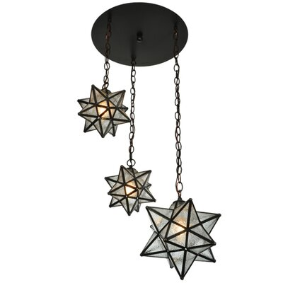 Moravian Star 3-Light Cascade Pendant Shade Color: Silver