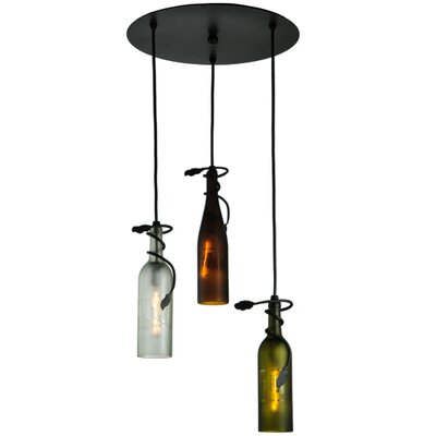 Tuscan Vineyard 3 Wine Bottle 1-Light Cascade Pendant