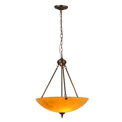 Corinth 2-Light Inverted Pendant Shade Color: Amber