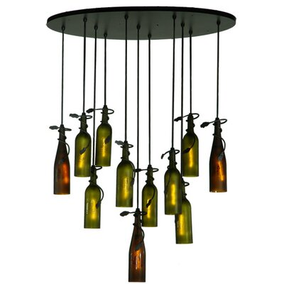 Personalized Thirsty Owl Wine Bottle 11-Light Cascade Pendant