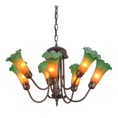Greenbriar Oak Pond Lily 7-Light Shaded Chandelier