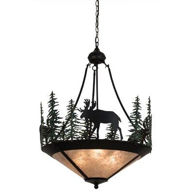 Greenbriar Oak Wandering Moose 3-Light Inverted Pendant