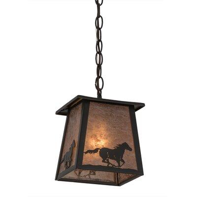 Greenbriar Oak Running Horse Lantern 1-Light Mini Pendant