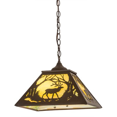 Greenbriar Oak Elk At Dawn 2-Light Mini Pendant