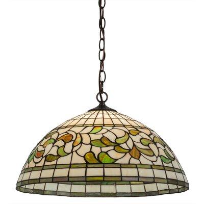 Greenbriar Oak Turning Leaf 1-Light Bowl Pendant