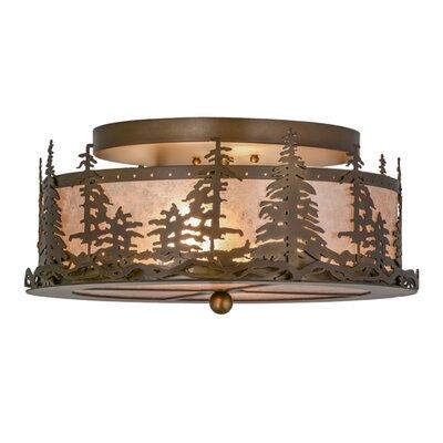 Greenbriar Oak Tall Pines 2-Light Semi-Flush Mount